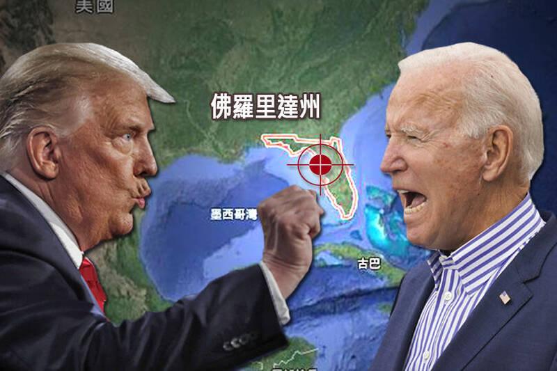 尋求連任的總統川普(左)和民主黨總統候選人拜登(右)今日將齊聚關鍵「搖擺州」佛羅里達州坦帕分別舉行造勢活動。(本報合成)