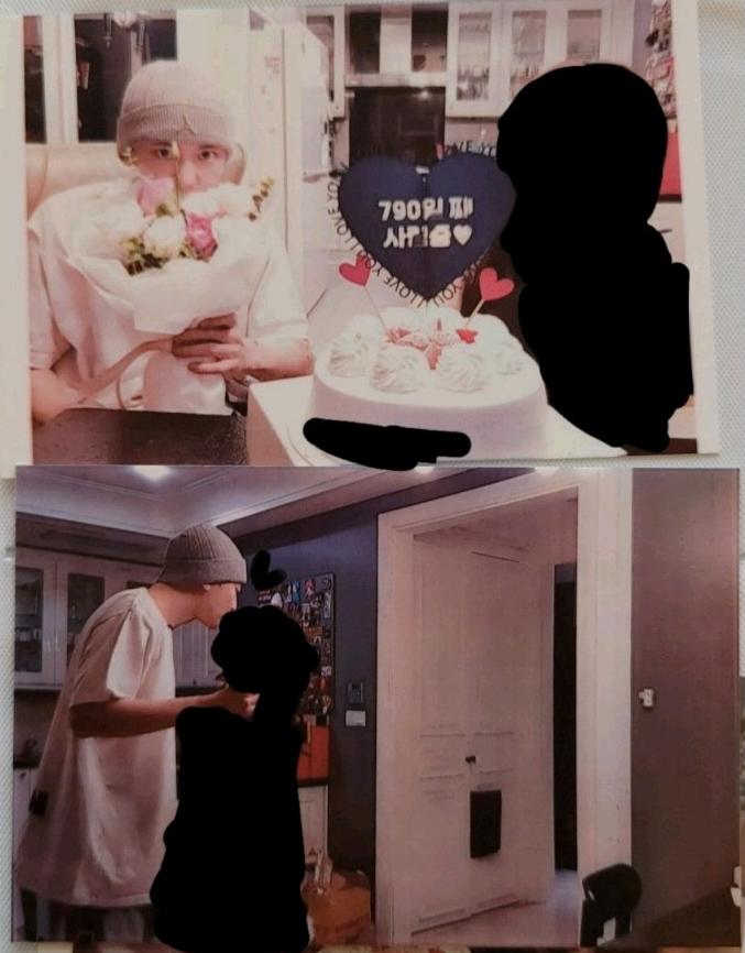 自稱燦烈前女友的女網友PO出兩人慶祝交往790天的合照。(圖取自「Naver」)