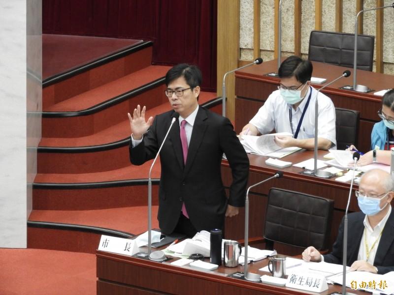 因應美豬進口,高雄市長陳其邁強調會向中央爭取經費,可增加10倍查驗量。(記者葛祐豪攝)