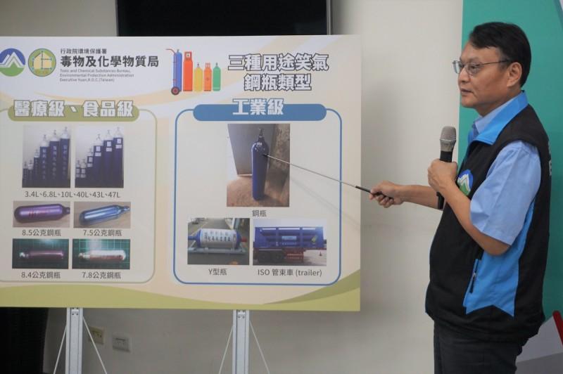 環保署化學局長謝燕儒說明笑氣的3種用途。(環保署提供)