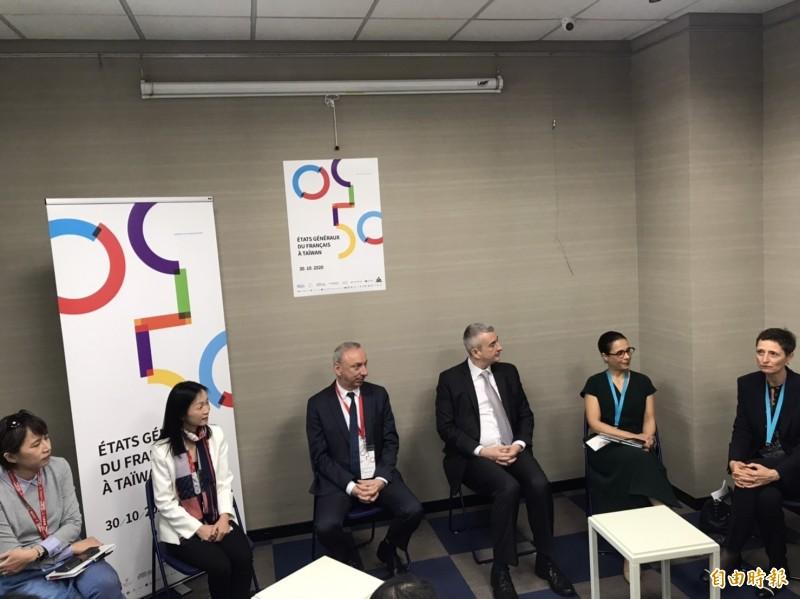 由法國在台協會與多個駐台機構共同主辦的「2020台灣法語大會」,今首度在台北舉辦,駐台代表暢談自己學習法語的經歷。(記者彭琬馨攝)
