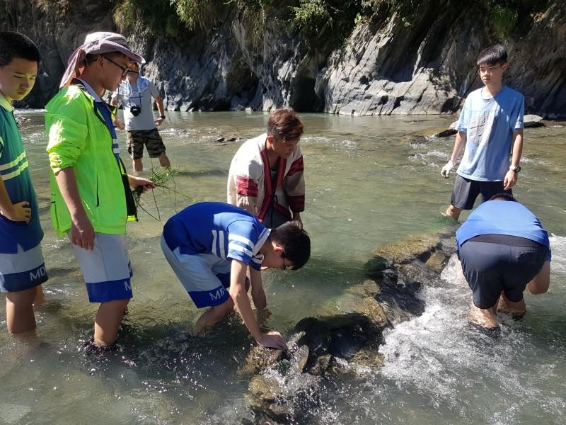 部落居民進行塔羅灣溪水環境營造與生態資源調查。(民眾提供)