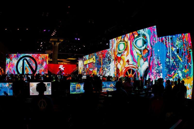 2019年美國電子娛樂展覽(E3)上打電玩的玩家。(路透檔案照)