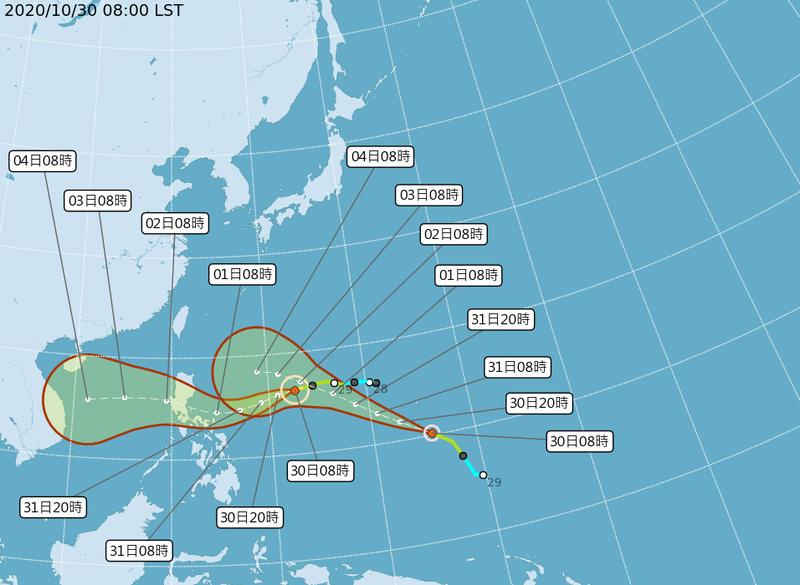 19、20號颱風接連生成,未來動向引人關注。(擷取自中央氣象局)