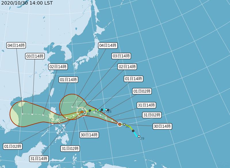 第19號颱風「天鵝」預計朝菲律賓方向移動,對台灣天氣沒有直接影響;20號颱風「閃電」目前向西北西方向行進中。(圖擷取自中央氣象局)