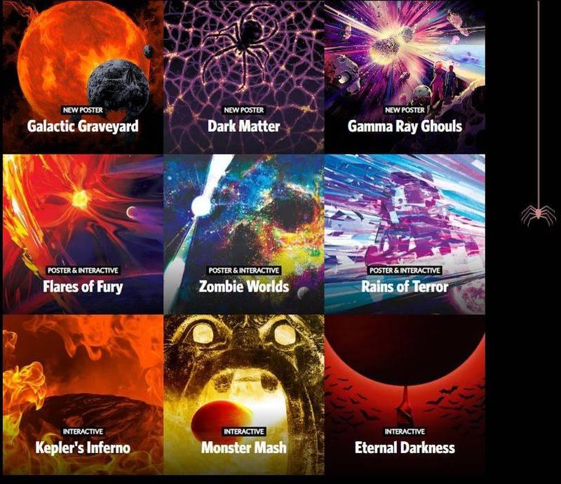 此外,NASA也公布一系列名為《恐怖銀河》的創意海報。(取自NASA)