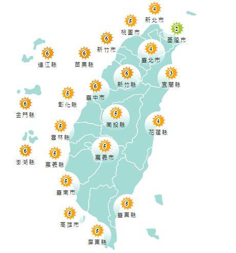紫外線方面,基隆市為低量級,其餘地區均為中量級至高量級。(圖擷取自中央氣象局)