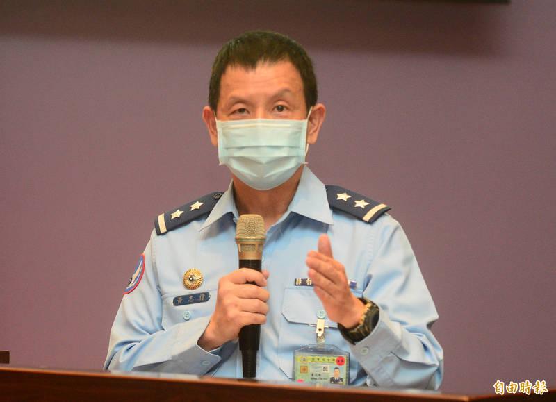 空軍司令部F51E戰機失事相關議題記者會,空軍司令部參謀長黃志偉做詳細說明。(記者王藝菘攝)