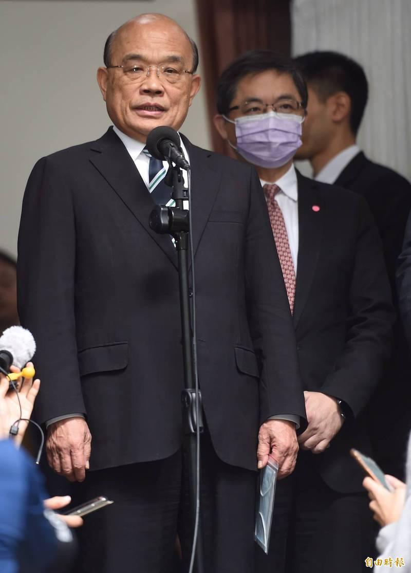 對於萊豬爭議,台北市長柯文哲槓中央,行政院長蘇貞昌說,聽不懂他說什麼。(記者劉信德攝)