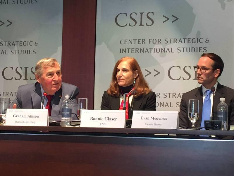 圖中間為華府智庫「戰略暨國際研究中心」(CSIS)中國國力專案主任葛來儀(Bonnie Glaser)。(資料照)