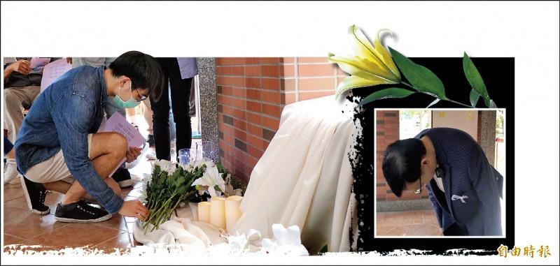 長榮大學馬來西亞籍女僑生遇害,師生昨發起追思活動(左圖);長榮大學校長李泳龍現身為向社會鞠躬致歉(右圖)。(記者萬于甄攝)