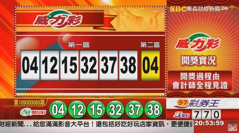 威力彩、38樂合彩開獎號碼。(圖擷取自東森財經台57彩券王)