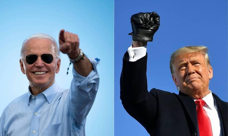 美國總統大選進入最後倒數階段,將在當地時間11月3日舉行開票作業。圖左為民主黨候選人拜登、圖右為現任美國總統川普。(法新社)
