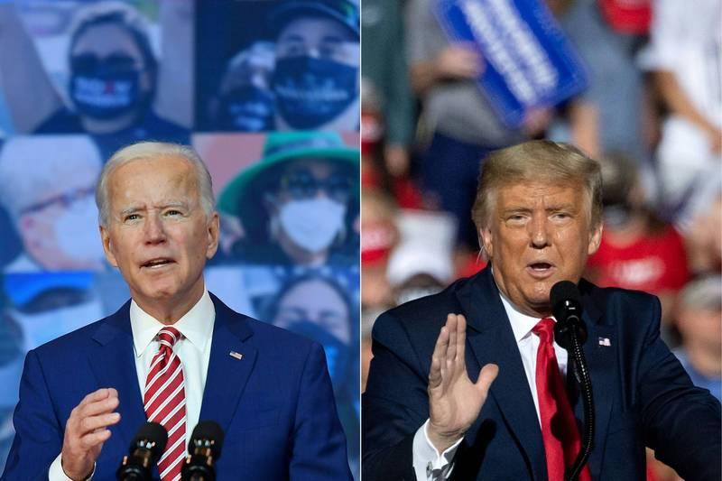 美國總統大選將於當地時間3日舉行,尋求連任的共和黨籍美國總統川普迎戰民主黨總統候選人拜登。(法新社)