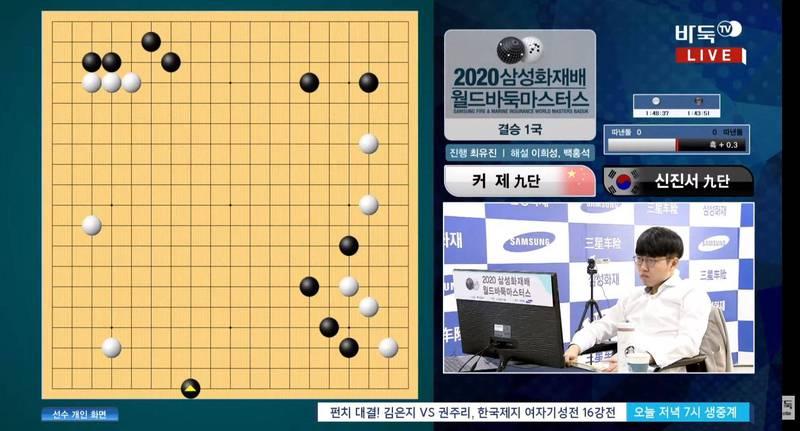 20歲的南韓年輕好手申真諝在與柯潔的比賽中,首局因為滑鼠卡住錯點落子(黑三角點),僅120手便落敗。(圖擷自Youtube)