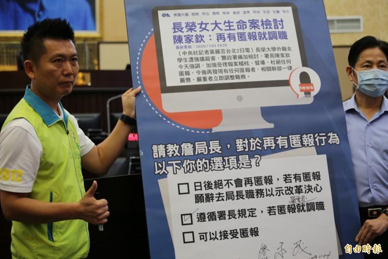 南市警察局長詹永茂(右)表示,未來如有同仁再吃案、隱匿報案者一律嚴懲。(記者蔡文居攝)