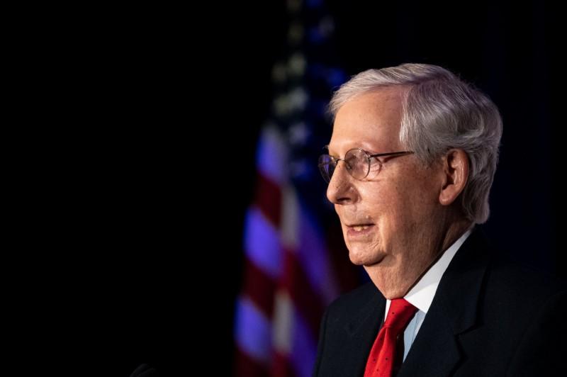 聯邦參議院多數黨(共和黨)領袖麥康奈3日晚間向支持者發表談話。(法新社)
