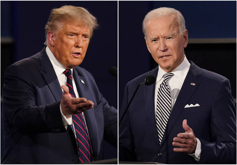 美國總統川普(左)與民主黨總統候選人拜登(右)。(美聯社檔案照)