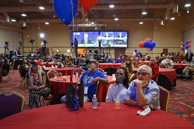 外媒報導,美國最關鍵3州密西根州、賓夕法尼亞州及威斯康幸州,共佔46張選舉人票,恐怕得等到本週稍晚才會有結果,圖為川普支持者聽拜登演講畫面。(歐新社)