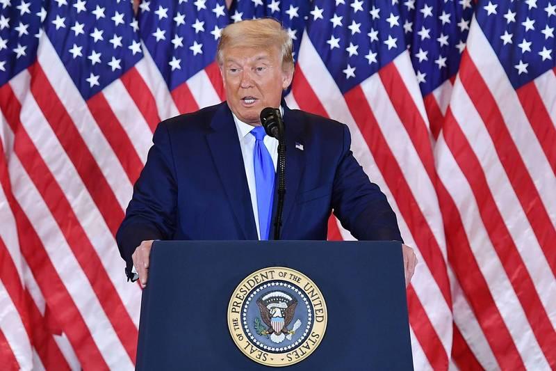 川普(見圖)在白宮發表「勝選感言」,引發外媒關注。(法新社檔案照)