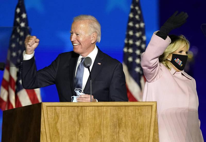 拜登(左)競選團隊指出,可望在6小時內拿下270張選舉人票,並在12小時內宣布當選。(美聯社檔案照)
