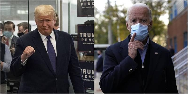 川普(左)與拜登(右)競爭美國總統大位,賭盤從3日至4日發生變化。(美聯社,本報合成)