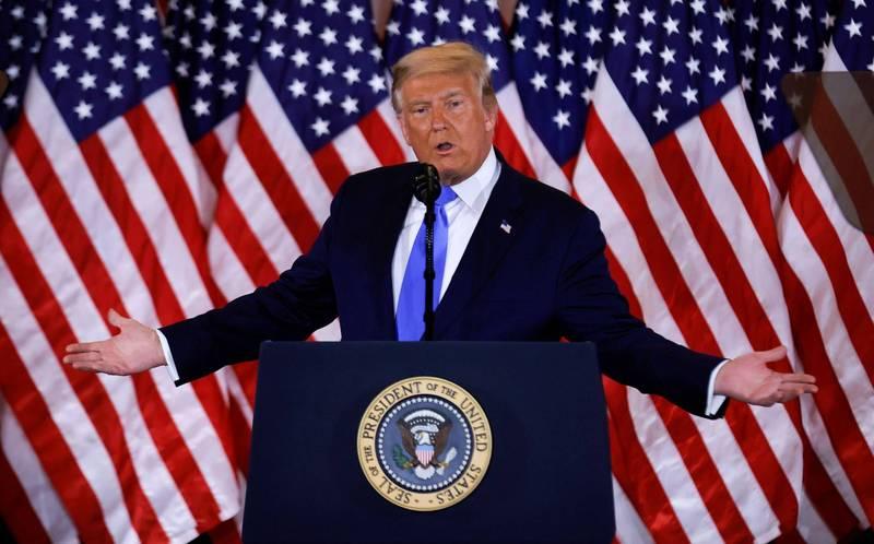 川普在演講中直呼「全贏了」。(路透)