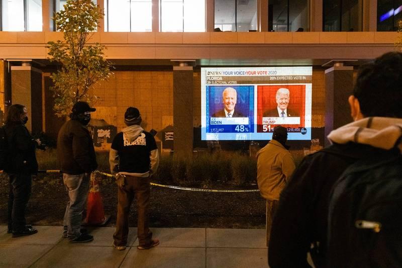 目前佛州開票接近尾聲,川普逆轉,目前以51%得票率領先拜登的48%,《紐時》表示川普有95%的機率拿下佛州。(彭博)