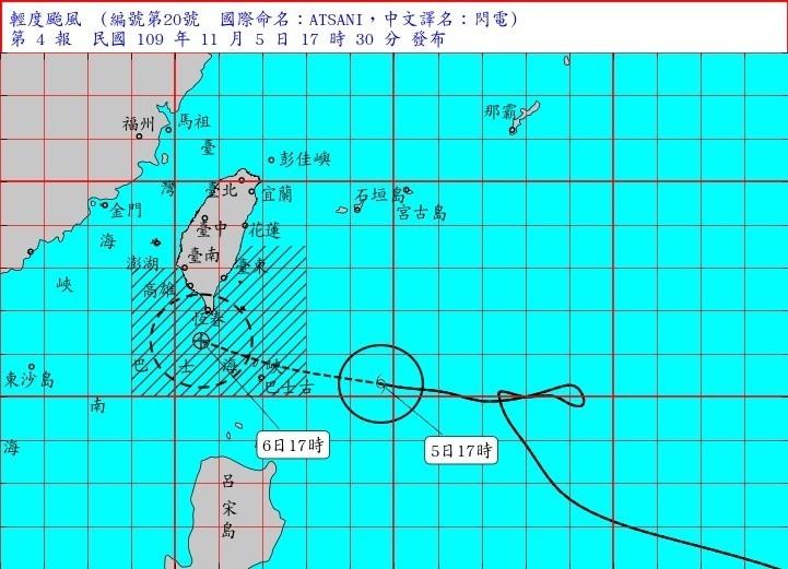 中央氣象局表示,閃電颱風受到太平洋高壓及導引氣流影響,加上接近台灣陸地時出現地形效應,路徑持續偏北,預估明天白天對台影響最為劇烈,暴風圈將 籠罩恆春半島及台東南端陸地。(記者蕭玗欣翻攝)