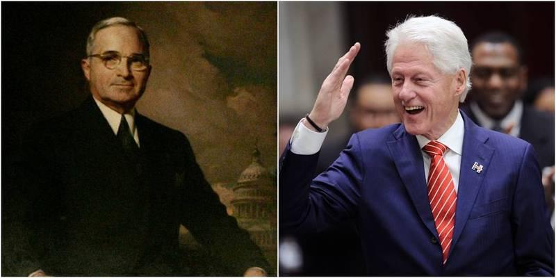 黃澎孝指出,美國民主黨籍前總統杜魯門(左)、柯林頓(右)都曾在台灣危急時出兵護台。(美聯社,本報合成)