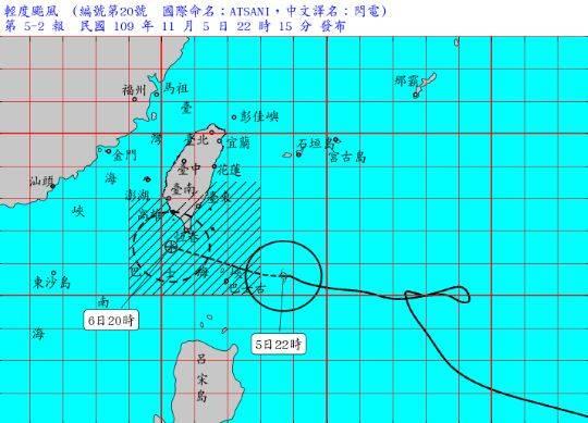 閃電颱風暴風圈正進入巴士海峽,對台東(含蘭嶼、綠島)、屏東及恆春半島構成威脅,氣象局於今晚10點15分更新陸上颱風警報。(圖擷自中央氣象局)