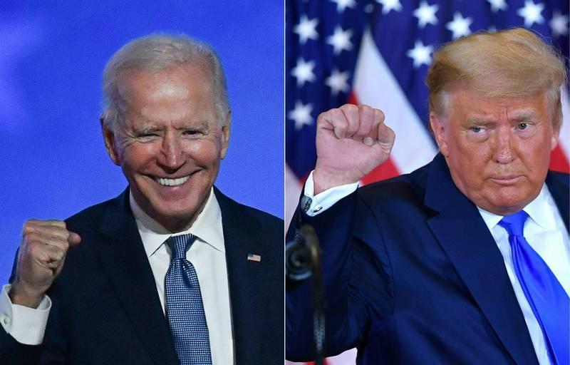 美國總統大選開票持續中,民主黨候選人拜登(圖左)以264張選舉人票,暫時領先總統川普(圖右)的214張。《時代雜誌》分析指出,「就算是拜登當選,他所治理的也將是『川普的美國』」。(法新社)