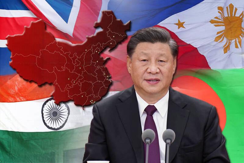 中共總書記習近平今天罕見將12名駐外大使免職,官方並宣布暫停英國、菲律賓、孟加拉、印度等國民眾入境中國,引發外界聯想。(本報合成)