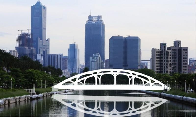 前鎮區中山四路東側跨越前鎮運河銜接凱福街車行橋模擬圖。(記者王榮祥翻攝)