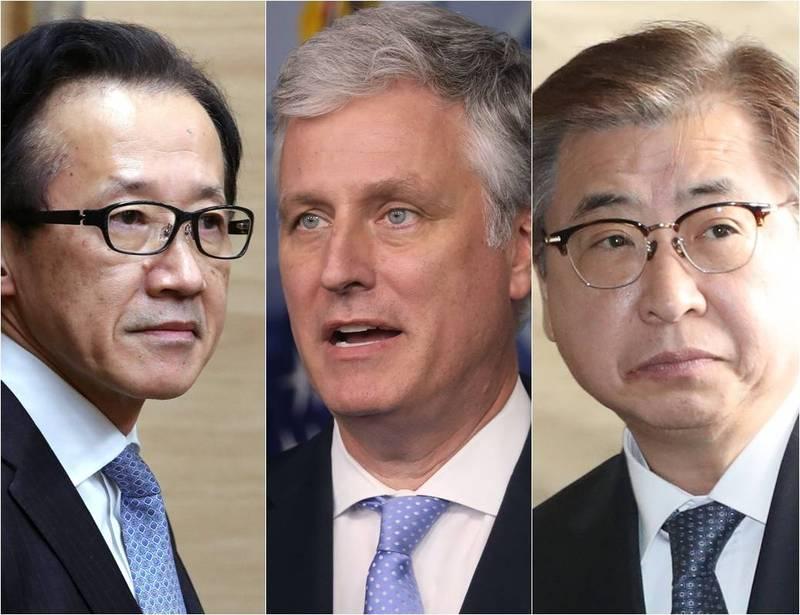 今日南韓、美國及日本等3國國安首長舉行視訊會議。左起為北村茲、歐布萊恩、徐薰。(本報合成,左起為法新社、路透、歐新社)