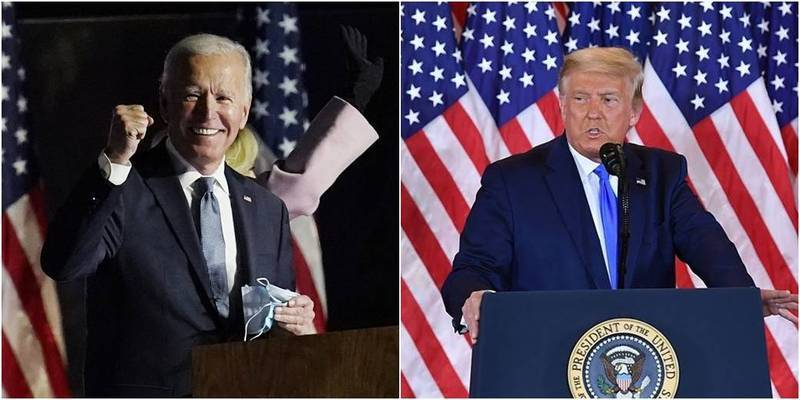 2020年美國總統大選開票、計票作業持續進行,拜登(左)與川普(右)差距逐漸拉開。(左圖美聯社,右圖法新社)