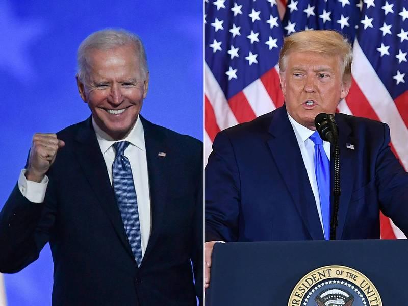 川普(右)指出,所有拜登(左)聲稱獲勝的州,他都要告「選民詐欺」與「州選舉詐欺」。(法新社檔案照)
