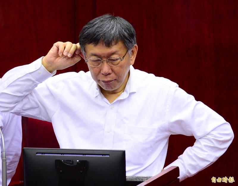 台北市長柯文哲到台北市議會出席市政總質詢。(記者王藝菘攝)