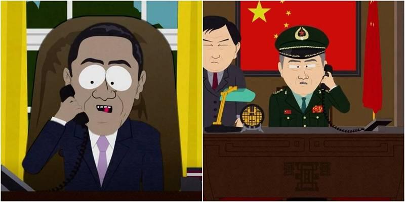 網友追查《南方四賤客》釋出的影片來源,發現是來自2012年的其中1集,該集提到美大選獲勝者獲得中國幫助。(圖取自south park Season 16 E 14 )