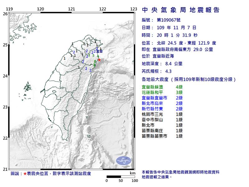 晚間8點左右宜蘭外海發生地震,規模為4.3,地震深度為8.4公里,最大震度4級。(圖取自中央氣象局)
