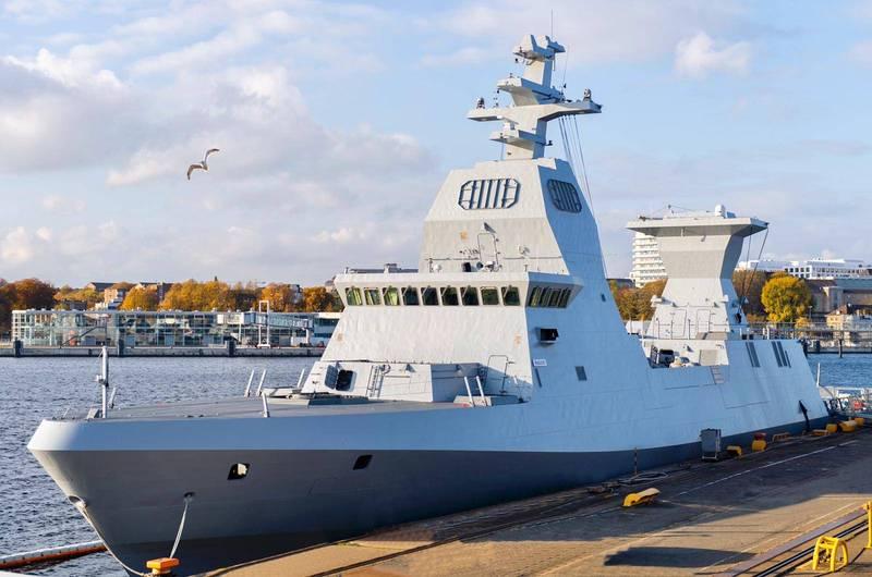 以色列國防部5日發佈聲明,表示首艘薩爾6型護衛艦「瑪根號」號已經在德國交付給以色列,預計12月將回到以國,圖為「瑪根號」。(擷取自以色列國防部)