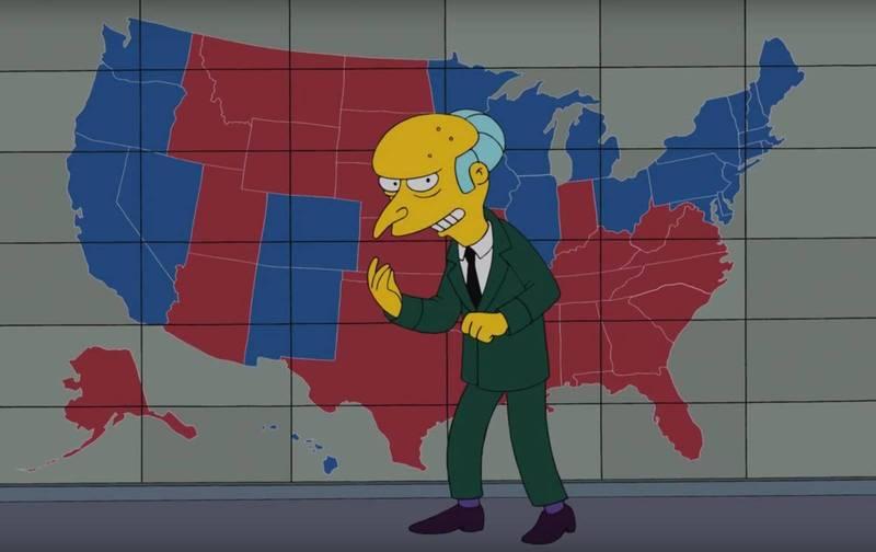許多推特網友發現,《辛普森家庭》在2012年推出的劇情與今年美國總統大選各州開票結果分布圖不謀而合。(圖擷自推特)