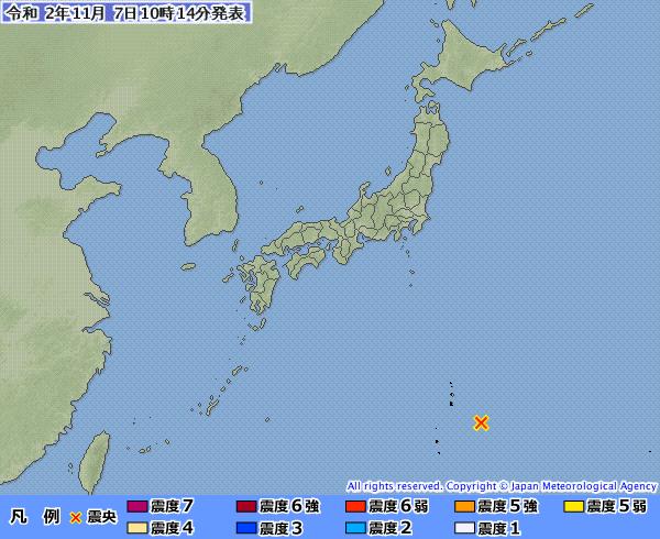 小笠原群島東南方發生規模6.2地震。(擷取自日本氣象廳)