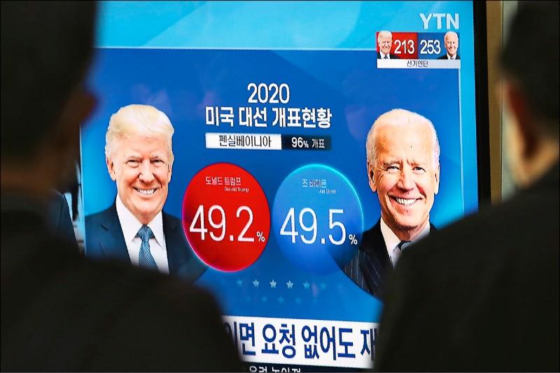 南韓首爾火車站內的民眾,關注美國總統川普與民主黨候選人拜登7日在賓州得票率的新聞。(美聯社)