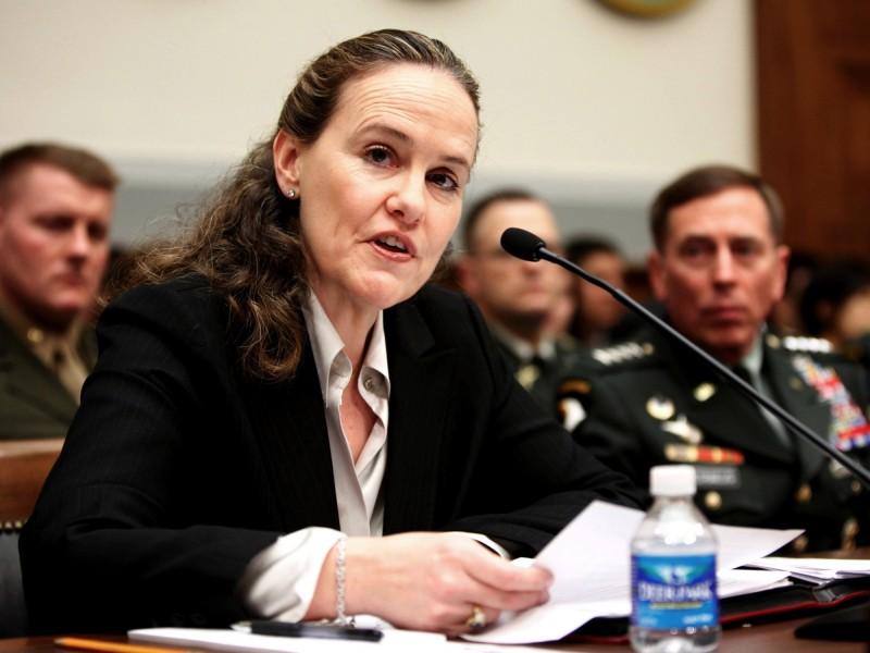 下屆美國國防部長熱門人選佛洛諾伊被視為「自由派中的鷹派」,主張美國應增加軍費維持強盛軍力;她曾在2015年率團訪問台灣。(美聯社檔案照)
