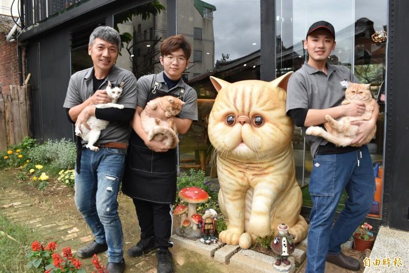 來看「加菲貓」!港點師傅游清把大溪荒廢老屋整修變身超萌寵物餐廳。(記者李容萍攝)