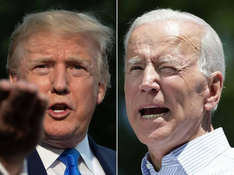 美國媒體紛紛宣告民主黨總統候選人拜登(右)已勝選,但現任總統川普(左)拒絕認輸。(法新社)