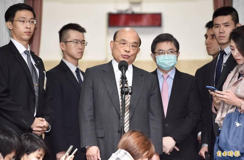 行政院長蘇貞昌表示,絕大多數國家都力挺台灣參加WHA,中國以政治因素阻擋,只會讓越來越多國家及人民站出來譴責中國。(記者羅沛德攝)