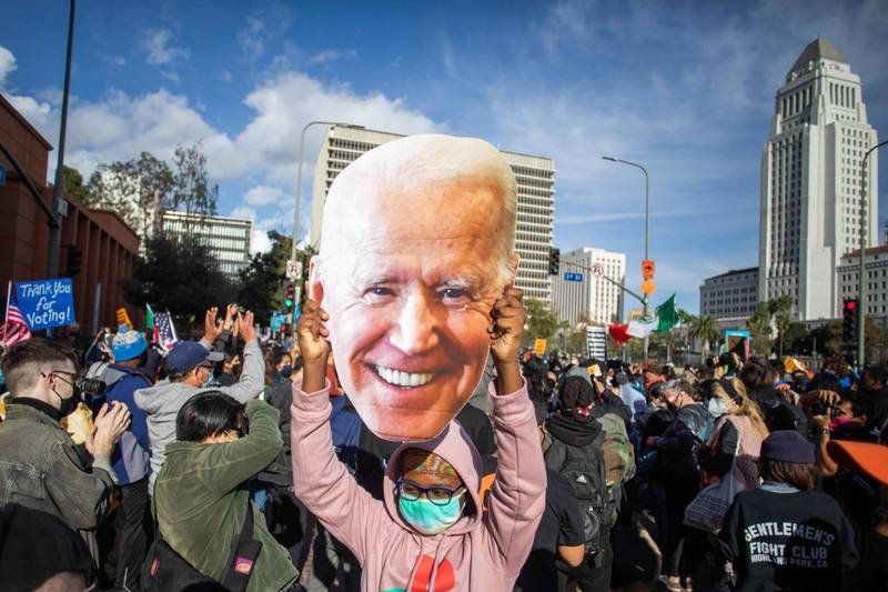 從拜登選情領先到勝選,皆有加州民眾上街慶祝,然而這也導致加州確診病例增加。(法新社)