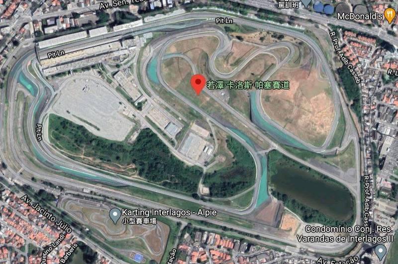 巴博薩在超級摩托車賽事中,因過彎時失控撞上金屬護欄而傷重而不治。(圖片擷取自google map)